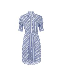 MYKKE HOFMANN - Cotton Blouse-dress Keila With Blue Square Stripes - Lyst
