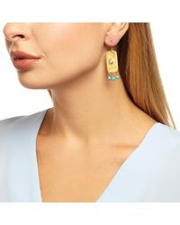 Ottoman Hands - Metallic Pearl And Turquoise Antique Rectangle Beaded Earrings - Lyst
