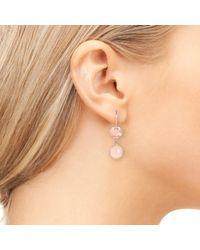 Latelita London - Pink Circle & Hammer Earring Rose Quartz Rosegold - Lyst