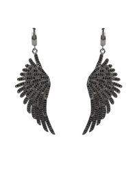 Latelita London - Metallic Angel Wing Drop Earring Oxidised Sterling Silver Black - Lyst
