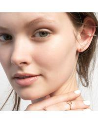 Astrid & Miyu - Metallic Thin Line Pearl Ear Cuff Rose Gold - Lyst