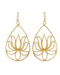 Satya Jewelry - Metallic Teardrop Gold Lotus Earrings - Lyst