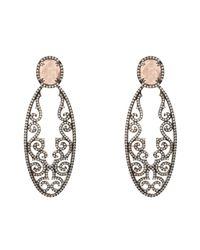Latelita London - Metallic Jasmine Rose Quartz Gemstone Earring Oxidised - Lyst