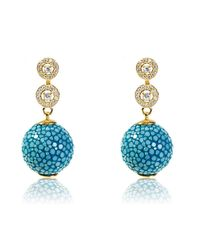 Latelita London - Multicolor Stingray Ball Earring With Zircon Ocean - Lyst