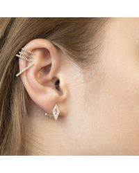 Astrid & Miyu - Gray Diamond Ear Jacket In Gunmetal - Lyst