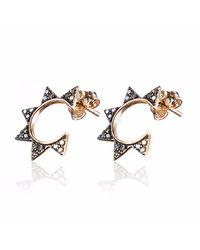 Sadekar Jewellery - Metallic Gear Earring Rose Gold - Lyst