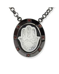 Vintouch Italy - Black Hand Of Fatima Cameo Necklace - Lyst