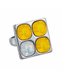 Nadia Minkoff - Multicolor Four Stone Square Ring Yellow - Lyst