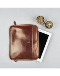 Maxwell Scott Bags - Brown Luxury Tan Leather Ipad 2 Case The Luzzi for Men - Lyst
