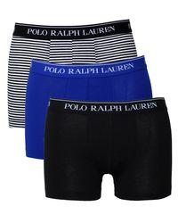 Polo Ralph Lauren - 3 Pack Black, Navy & Royal Blue Boxer Trunks for Men - Lyst