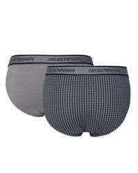 Emporio Armani - Gray Two Pack Grey & Navy Briefs for Men - Lyst