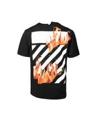 Off-White c/o Virgil Abloh - Black Diagonal Fire Hands T-shirt for Men - Lyst