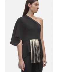 Yigal Azrouël - Black One Shoulder Crepe Top With Foil Pleats - Lyst