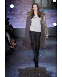 Yigal Azrouël - Gray Long Fur Coat With Hood - Lyst