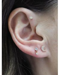 Maria Tash - Multicolor Diamond Moon Thread Through Single Earring - Lyst