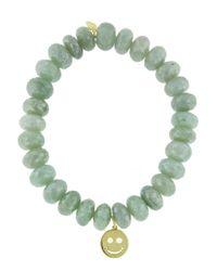 Sydney Evan - Happy Face On Green Silverite Beaded Bracelet - Lyst