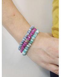 Sydney Evan - Blue Turquoise Diamond Bezel Rondelle Charm On Peruvian Opal Beaded Bracelet - Lyst