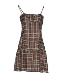 Met - Brown Short Dress - Lyst