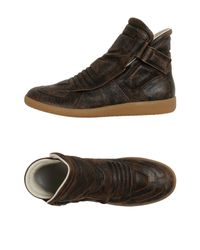 Maison Margiela - Brown Leather High-Top Boots for Men - Lyst