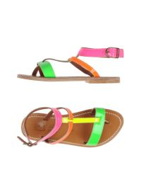 K. Jacques - Green Toe Strap Sandal - Lyst