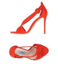 Prada | Red Sandals | Lyst