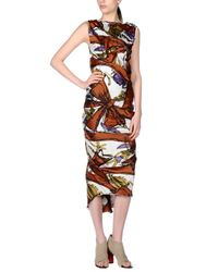 AQUILANO.RIMONDI - Brown 3/4 Length Dress - Lyst
