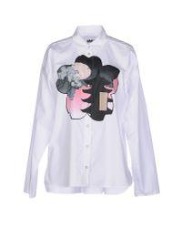 MM6 by Maison Martin Margiela - White Shirt - Lyst