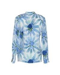 MSGM - Blue Printed Silk Crepe De Chine Blouse - Lyst