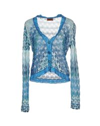 Missoni - Blue Crochet-knit Cardigan - Lyst