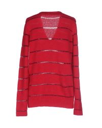 See By Chloé - Red Zip-embellished Wool-blend Sweater Dress - Lyst