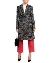 Dolce & Gabbana - Black Woolblend Tweed Coat - Lyst