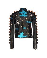 Valentino - Black Crazy Fantasy Leather Jacket - Lyst