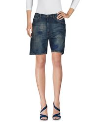 Pence - Green Denim Shorts - Lyst