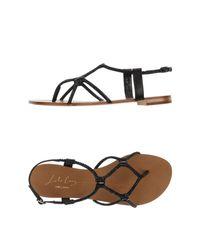 Lola Cruz - Black Toe Post Sandal - Lyst