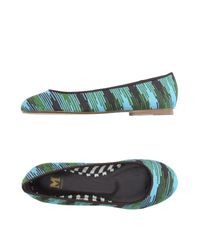 M Missoni | Blue Ballet Flats | Lyst