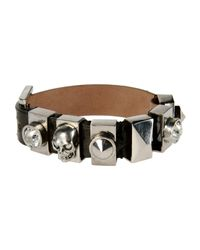 Alexander McQueen | Black Printed Calf-hair Wrap Bracelet | Lyst