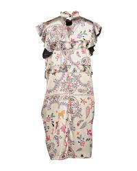 Shirtaporter - Natural Knee-length Dress - Lyst