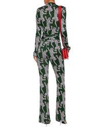 Diane von Furstenberg - Green Leopard Silk-jersey Jumpsuit - Lyst