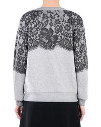 Boutique Moschino - Gray Lace Print Sweatshirt - Lyst