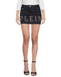 Philipp Plein - Black Denim Skirt - Lyst
