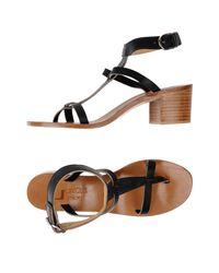 K. Jacques - Black Toe Strap Sandal - Lyst