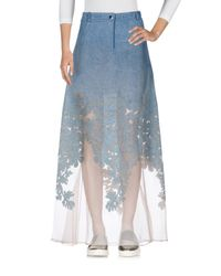 Alberta Ferretti - Blue Denim Skirt - Lyst