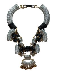 Kirsty Ward | White Silver, Black & Gold Pendant - Last One | Lyst
