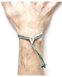 Anchor & Crew - Multicolor Green Dash Pembroke Silver And Rope Bracelet for Men - Lyst