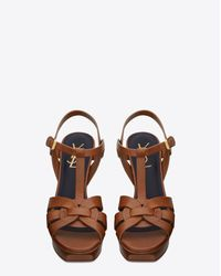 Saint Laurent - Brown Tribute 75 Sandal In Amber Leather - Lyst