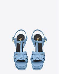 Saint Laurent - Classic Tribute 105 Sandal In Light Blue Patent Leather - Lyst