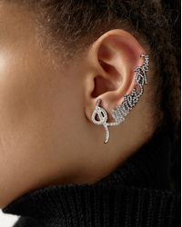 """Saint Laurent - Metallic """"rendez-vous"""" Ear Jewel In Silver-toned Brass And Crystals - Lyst"""