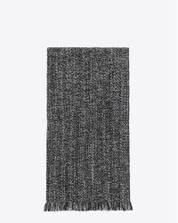 Saint Laurent - Multicolor Écharpe en laine et cachemire à chevrons diagonaux noirs et gris clair for Men - Lyst