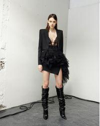 Saint Laurent - Bodysuit With A Low Plunging Neckline In Black Stretch Floral Lace - Lyst