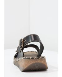 Fly London | Black Tram Wedge Sandals | Lyst